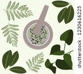 medical herbs bowl of dried... | Shutterstock .eps vector #1230616225
