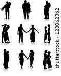 romantic couples silhouettes | Shutterstock .eps vector #123062362