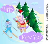 pigs ride down a hill on sleds... | Shutterstock .eps vector #1230628432