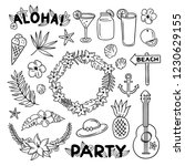 beach party hand drawn set.... | Shutterstock .eps vector #1230629155