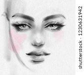 beautiful girl face with makeup ... | Shutterstock . vector #1230631942