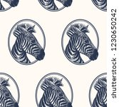 zebra. seamless pattern with... | Shutterstock .eps vector #1230650242