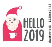 santa claus with coffee cup and ...   Shutterstock .eps vector #1230661465