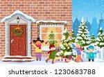 entrance to the suburban house... | Shutterstock .eps vector #1230683788
