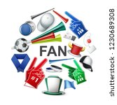 realistic fan attributes round... | Shutterstock .eps vector #1230689308