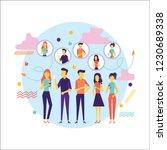flat design of people addicted... | Shutterstock .eps vector #1230689338
