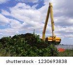 backhoe dump water hyacinth...   Shutterstock . vector #1230693838