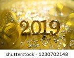 new year closeup golden 2019... | Shutterstock . vector #1230702148