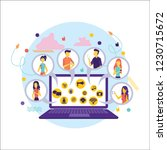 laptop over social media and... | Shutterstock .eps vector #1230715672
