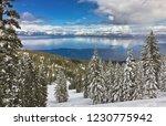 sunny winter day on lake tahoe  ... | Shutterstock . vector #1230775942