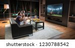 a family is watching a soccer... | Shutterstock . vector #1230788542