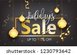happy holidays sale with golden ... | Shutterstock .eps vector #1230793642