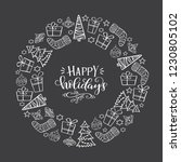 hand drawn winter holiday... | Shutterstock .eps vector #1230805102