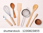 different kitchenware on a... | Shutterstock . vector #1230823855