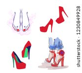 fashion style shoes  high heels ... | Shutterstock .eps vector #1230849928