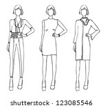 fashion sketch design winter... | Shutterstock .eps vector #123085546