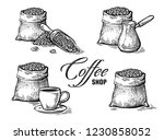 set of coffee beans in bag and... | Shutterstock .eps vector #1230858052