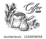 coffee beans in full bag and... | Shutterstock .eps vector #1230858058