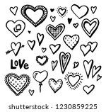 hand drawn hearts set of design ... | Shutterstock .eps vector #1230859225