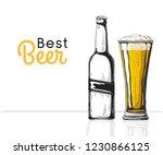 bottle of beer. glass with beer.... | Shutterstock .eps vector #1230866125