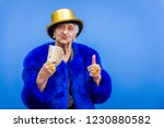 funny and extravagant senior... | Shutterstock . vector #1230880582