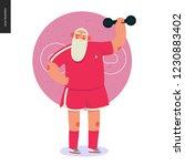 sporting santa   dumbbell... | Shutterstock .eps vector #1230883402