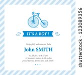 Baby announcement card editable vector with bicycle illustration for baby boy