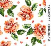 seamless roses background   Shutterstock . vector #123089662