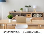 neat cozy workplace with laptop ... | Shutterstock . vector #1230899368