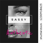 sassy slogan with woman face b... | Shutterstock .eps vector #1230918625