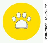 paw icon in yellow circle. flat ... | Shutterstock .eps vector #1230930745