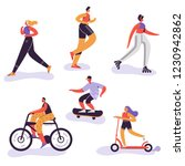 Active People Excercising. Outdoor Activities Running Woman, Girl Riding Bicycle, Man Run Marathon. Characters Doing Sportive Exercises. Vector illustration