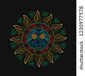 aztec sun god. vintage coorful...   Shutterstock .eps vector #1230977578