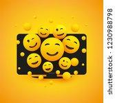 various smiling happy yellow...