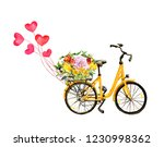 Yellow Bicycle With Flowers In...
