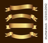 set of golden ribbons vector.   Shutterstock .eps vector #1231012042