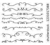 collection of handdrawn swirls... | Shutterstock .eps vector #1231017388