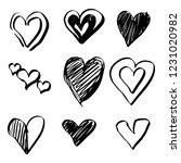 set of nine hand drawn heart.... | Shutterstock .eps vector #1231020982