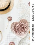flatlay composition with pink... | Shutterstock . vector #1231034758