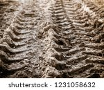 tyre tracks in the mud | Shutterstock . vector #1231058632