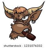 cartoon bull with cigar vector...   Shutterstock .eps vector #1231076332
