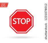 stop sign witn printed letters. ... | Shutterstock .eps vector #1231078012