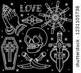 set flash tattoo vintage ... | Shutterstock .eps vector #1231105738