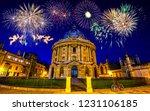 fireworks display near the... | Shutterstock . vector #1231106185