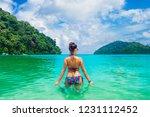summer lifestyle traveler woman ... | Shutterstock . vector #1231112452