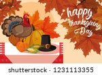 turkey with pumpkins and hat... | Shutterstock .eps vector #1231113355