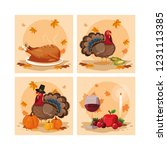 turkeys of thanksgiving day... | Shutterstock .eps vector #1231113385