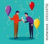 men happy celebrating party... | Shutterstock .eps vector #1231114732