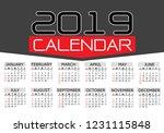calendar 2019 red black text... | Shutterstock .eps vector #1231115848