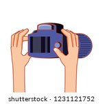 hands with photographic camera... | Shutterstock .eps vector #1231121752